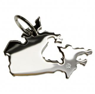Kanada Anhänger mit einem Brillant 0, 015ct an Ihrem Wunschort in massiv 925 Silber