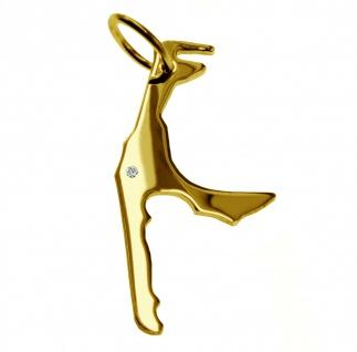 Kettenanhänger in der Form von der Landkarte Sylt mit Brillant 0, 015ct an Ihrem Wunschort in massiv 585 Gelbgold