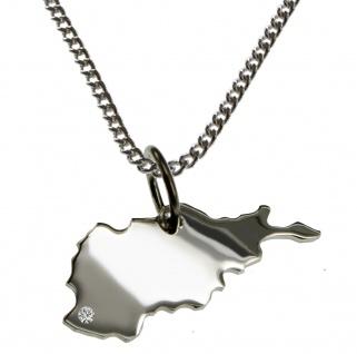 50cm Halskette + Afghanistan Anhänger mit einem Brillant 0, 015ct an Ihrem Wunschort in 925 Silber