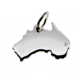 Australien Anhänger mit einem Brillant 0, 015ct an Ihrem Wunschort in massiv 925 Silber