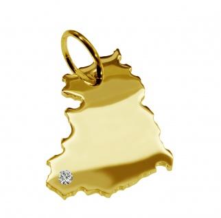 Kettenanhänger in der Form von der Landkarte DDR mit Brillant 0, 015ct an Ihrem Wunschort in massiv 585 Gelbgold