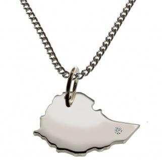 50cm Halskette + Äthiopien Anhänger mit einem Brillant 0, 015ct an Ihrem Wunschort in 925 Silber