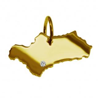 Kettenanhänger in der Form von der Landkarte Andalusien mit Brillant 0, 015ct an Ihrem Wunschort in massiv 585 Gelbgold