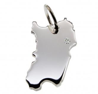 Sardinien Anhänger mit einem Brillant 0, 015ct an Ihrem Wunschort in massiv 925 Silber