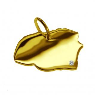 Kettenanhänger in der Form von der Landkarte Föhr mit Brillant 0, 015ct an Ihrem Wunschort in massiv 585 Gelbgold