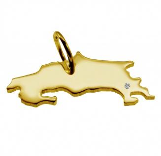 Kettenanhänger in der Form von der Landkarte Costa Rica mit Brillant 0, 015ct an Ihrem Wunschort in massiv 585 Gelbgold