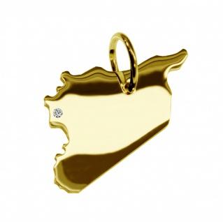 Kettenanhänger in der Form von der Landkarte Syrien mit Brillant 0, 015ct an Ihrem Wunschort in massiv 585 Gelbgold