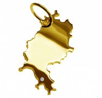 Kettenanhänger in der Form von der Landkarte Hessen mit Brillant 0, 015ct an Ihrem Wunschort in massiv 585 Gelbgold