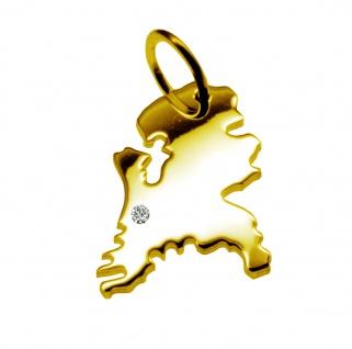 Kettenanhänger in der Form von der Landkarte Holland mit Brillant 0, 015ct an Ihrem Wunschort in massiv 585 Gelbgold