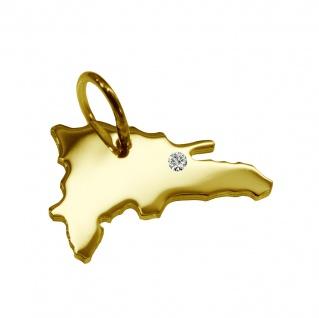 Kettenanhänger in der Form von der Landkarte DomRep mit Brillant 0, 015ct an Ihrem Wunschort in massiv 585 Gelbgold