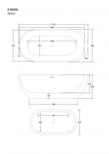 Corsan Freistehende Badewanne E-042XL 170 cm Acryl mit Überlauf (Chrome) - Vorschau 2