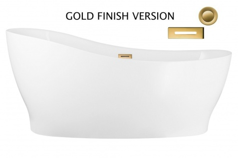 Corsan Freistehende Badewanne E-322L 160 cm Acryl mit Überlauf (Gold)