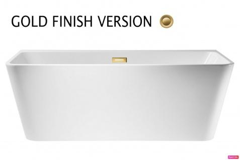 Corsan Freistehende Badewanne Vorwand E-019M 150 cm Acryl mit Überlauf (Gold)
