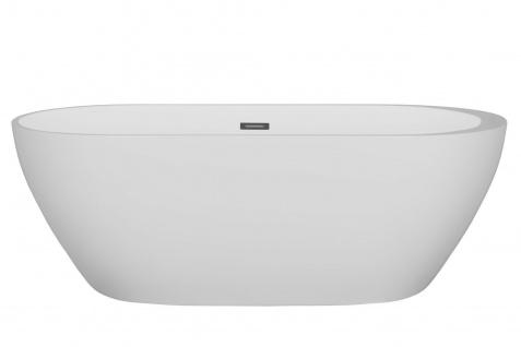 Corsan Freistehende Badewanne E-042XL 170 cm Acryl mit Überlauf (Chrome)