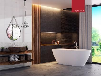 Corsan Freistehende Badewanne E-042XL 170 cm Acryl mit Überlauf (Chrome) - Vorschau 3