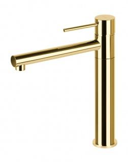 Corsan Einhebelmischer Mischbatterie Waschbecken Hoch Wasserhahn Badarmatur Waschbecken-Armatur Hoch CORSAN CMB7521GL Gold