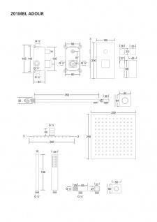 Corsan Duschset Duschsystem Unterputz Duschmischer mit Kopfbrause Schwarz Design + EBOX - Vorschau 2
