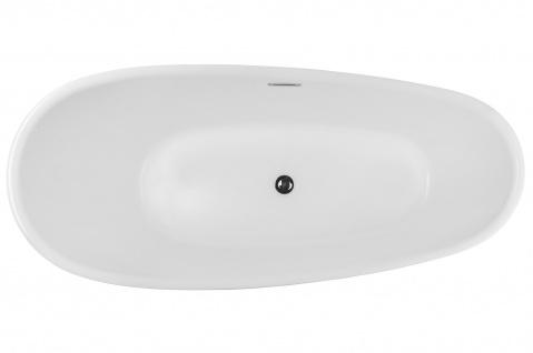 Corsan Freistehende Badewanne E-322L 160 cm Acryl mit Überlauf (Schwarz) - Vorschau 5