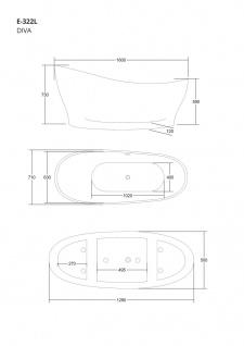 Corsan Freistehende Badewanne E-322L 160 cm Acryl mit Überlauf (Schwarz) - Vorschau 2