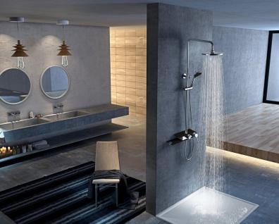 Corsan Duschset Duschsystem Aufputz Kopfbrause Chrome / Schwarz Modern Design CMN002 FIBER