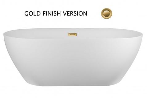 Corsan Freistehende Badewanne E-041L 160 cm Acryl mit Überlauf (Gold)