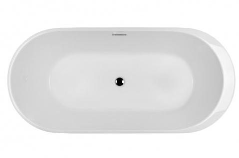 Corsan Freistehende Badewanne E-042XL 170 cm Acryl mit Überlauf (Chrome) - Vorschau 5