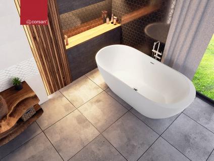 Corsan Freistehende Badewanne E-042XL 170 cm Acryl mit Überlauf (Chrome) - Vorschau 4