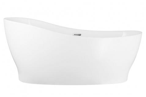 Corsan Freistehende Badewanne E-322L 160 cm Acryl mit Überlauf (verchromt)