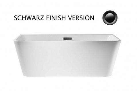 Corsan Freistehende Badewanne Vorwand E-019M 150 cm Acryl mit Überlauf (schwarz)