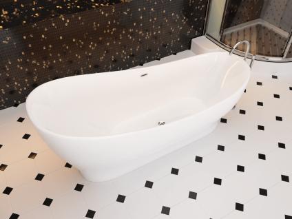 Corsan Freistehende Badewanne E-322L 160 cm Acryl mit Überlauf (Schwarz) - Vorschau 3