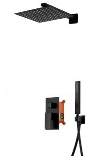 Corsan Duschset Duschsystem Unterputz Duschmischer mit Kopfbrause Schwarz Design + EBOX