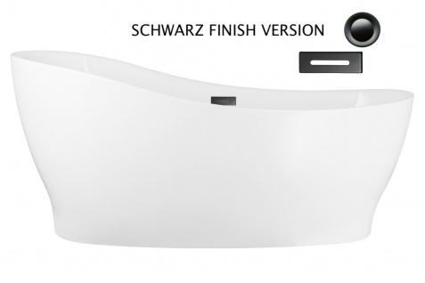 Corsan Freistehende Badewanne E-322L 160 cm Acryl mit Überlauf (Schwarz)
