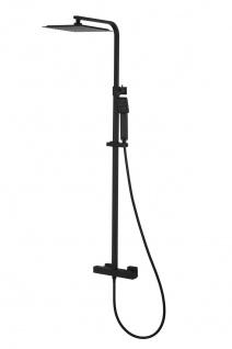 Corsan Duschset Duschsystem Aufputz Thermostat Kopfbrause Schwarz Modern Design CMN019