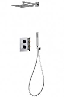 Corsan Duschset Duschsystem Unterputz Dusch Thermostat mit Kopfbrause Silber Design + EBOX