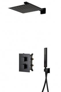 Corsan Duschset Duschsystem Unterputz Dusch Termostat mit Kopfbrause Schwarz Design + EBOX