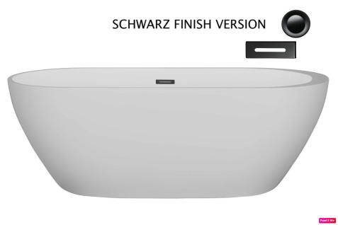 Corsan Freistehende Badewanne E-042XL 170 cm Acryl mit Überlauf (schwarz)
