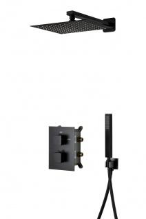 Corsan Duschset Duschsystem Unterputz Dusch Termostat mit Kopfbrause Schwarz Design + EBOX - Vorschau 3