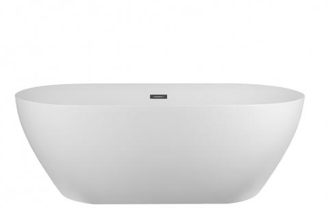 Corsan Freistehende Badewanne E-041L 160 cm Acryl mit Überlauf (Chrome)