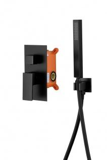Corsan Duschset Duschsystem Unterputz Duschmischer mit Kopfbrause Schwarz Design + EBOX - Vorschau 4