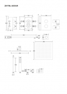 Corsan Duschset Duschsystem Unterputz Dusch Termostat mit Kopfbrause Schwarz Design + EBOX - Vorschau 2