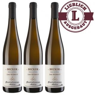 Weißwein Rheinhessen Gewürztraminer Weingut Becker Auslese lieblich ( 3 x 0, 75 l)