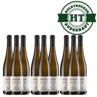 Weißwein Rheinhessen Riesling Weingut Becker halbtrocken ( 9 x 0, 75 l)