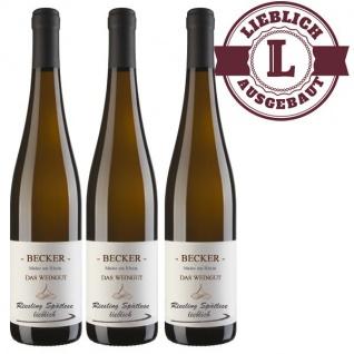 Weißwein Rheinhessen Riesling Weingut Becker Spätlese lieblich ( 3 x 0, 75)