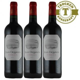 Rotwein Frankreich Vin de Bordeaux Jean Degaves trocken - 3x0, 75L
