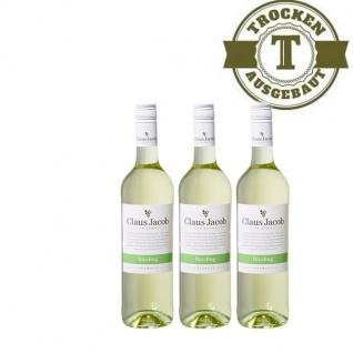 Weißwein Pfalz Riesling Claus Jacob trocken3 x 0, 75 Liter