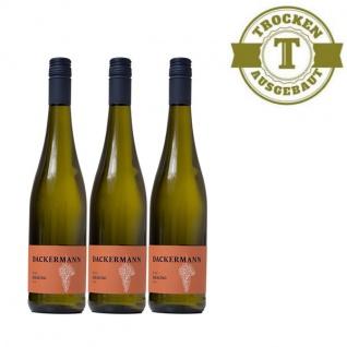 Weißwein Rheinhessen Riesling Weingut Dackermann Gutswein trocken ( 3 x 0, 75 l)