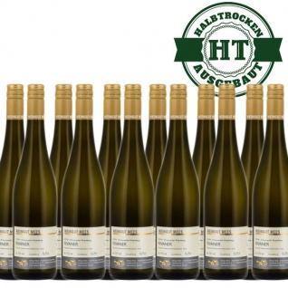 Weißwein Nahe Rivaner Weingut Roland Mees Kreuznacher Rosenberg Qualitätswein halbtrocken (12 x 0, 75l)