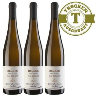 Weißwein Rheinhessen Gewürztraminer Weingut Becker Hüttberg trocken ( 3 x 0, 75)