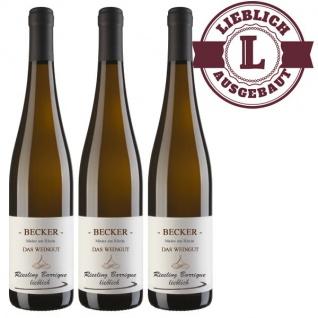 Weißwein Rheinhessen Riesling Weingut Becker Spätlese Barrique lieblich ( 3 x 0, 75 l)