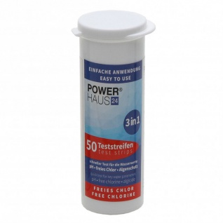 POWERHAUS24 3 in 1 Teststreifen Chlor, pH & Algenschutz, 50 Stück